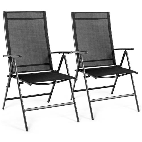 Costway Set of 2 Patio Folding Chair Recliner Adjustable Black
