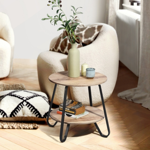 Furniturer Round Coffee Table Side End Table With Storage Oak Best Buy Canada