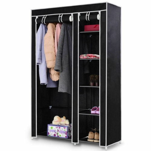 "Costway 69"" Portable Closet Storage Organizer Clothes Wardrobe Shoe Rack W/6 Shelf Black"