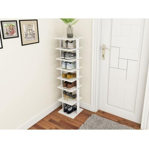 Costway Wooden Shoes Storage Stand 7 Tiers Shoe Rack Organizer Multi-shoe Rack Shoebox