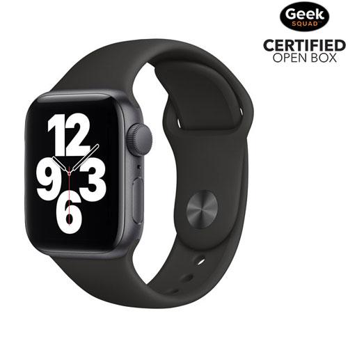 Apple Watch SE 40 mm avec boîtier en aluminium gris cosmique et bracelet sport noir - BO