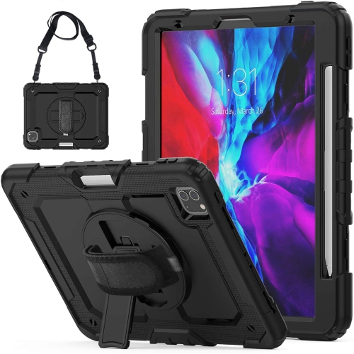 iPad Pro 12.9 2020 Case with Screen Protector Pencil Holder | Herize Full Body Shockproof Rugged Protective Durable Rubber C