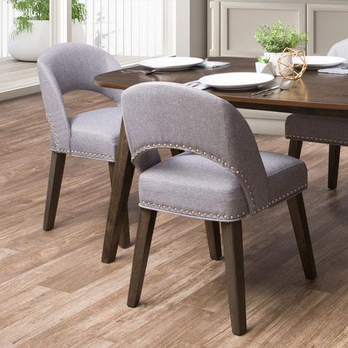 Chaise de salle à manger moderne en tissu Tiffany - Ensemble de 2 - Gris étain/Expresso