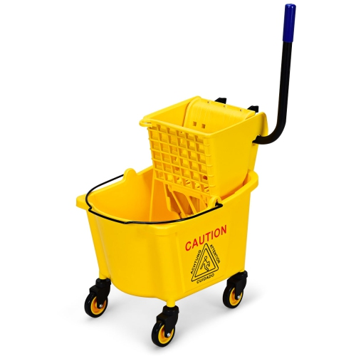 Costway Commercial Mop Bucket Side Press Wringer on Wheels Cleaning 26 Quart Yellow