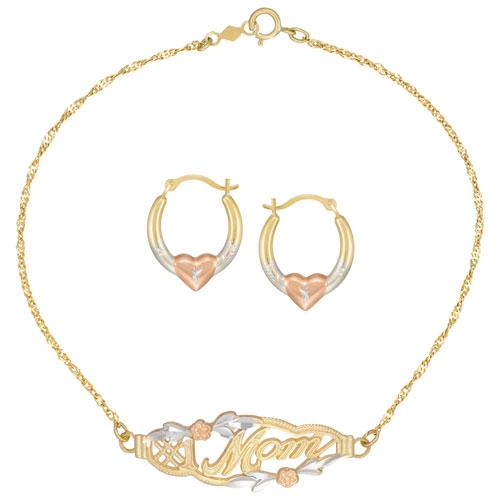 Le Reve Collection Heart Hoop Earring & Mom Bracelet Set in 10K Yellow Gold