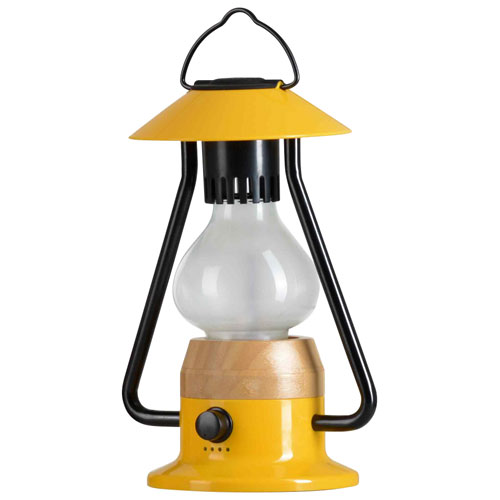 Tru-Delight Romantico Rechargeable & Dimming Lantern with Bluetooth Speaker - Metal Yellow