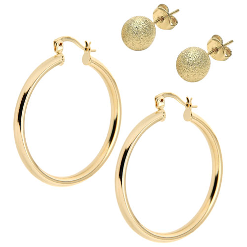 Le Reve Collection 30mm Hoop & Florentine Stud Earring Set in 14K Yellow Gold Plated Brass