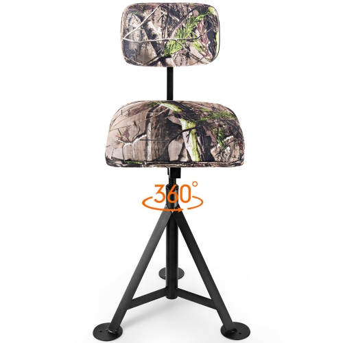 Gymax Swivel Hunting Chair Tripod Blind Stool w/ Detachable Backrest Outdoor Camping