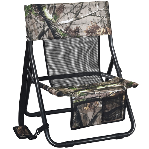 Costway Folding Hunting Chair Portable Outdoor Camping Woodland Camouflage Hunting Seat