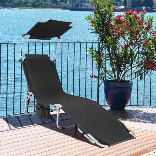 Chaise longue pliable Chaise longue d'extérieur réglable de plage ou piscine avec pare-soleil