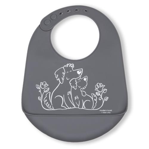 Modern Twist Bucket Bib Puppy Love, Fuzzy Gray