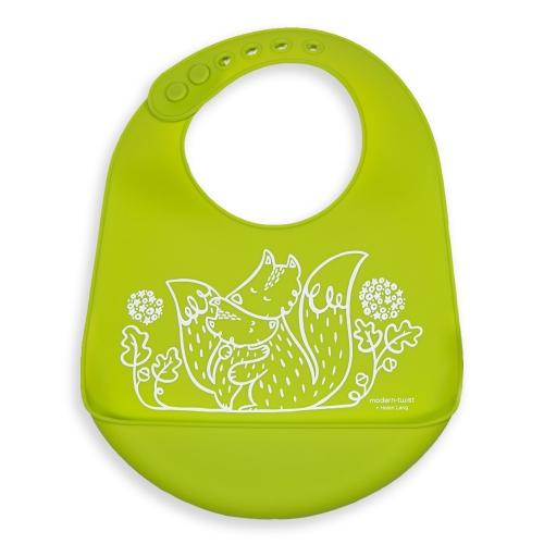 Modern Twist Bucket Bib Foxes, Lime Green