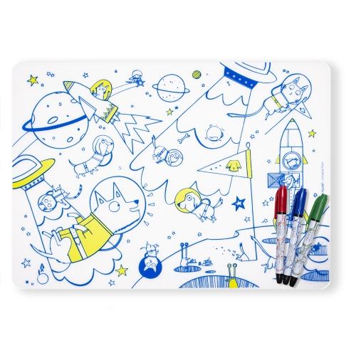 Modern Twist MarkMat Set Space Animals + 3 Markers, multicolor