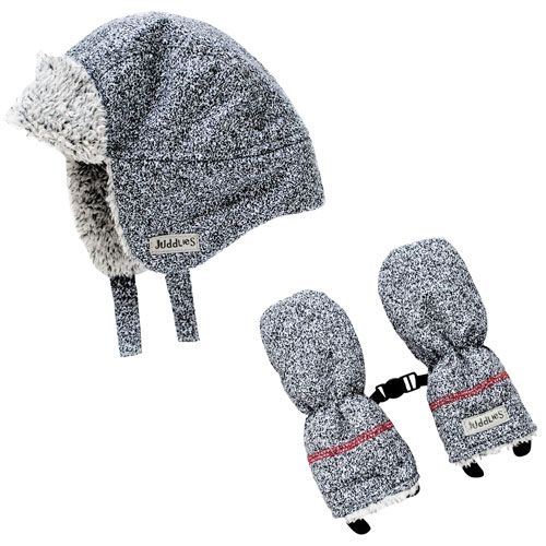 Juddlies Salt & Pepper Cotton Winter Hat & Mitten Set - 6 to 12 Months - Black