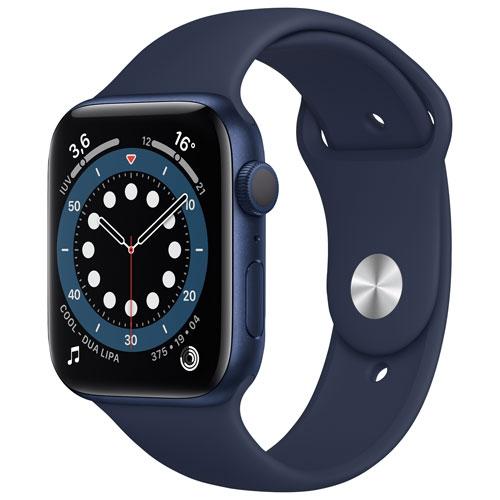 Apple Watch Series 6 avec boîtier 40 mm en aluminium bleu et bracelet sport bleu marine - Boîte ouverte
