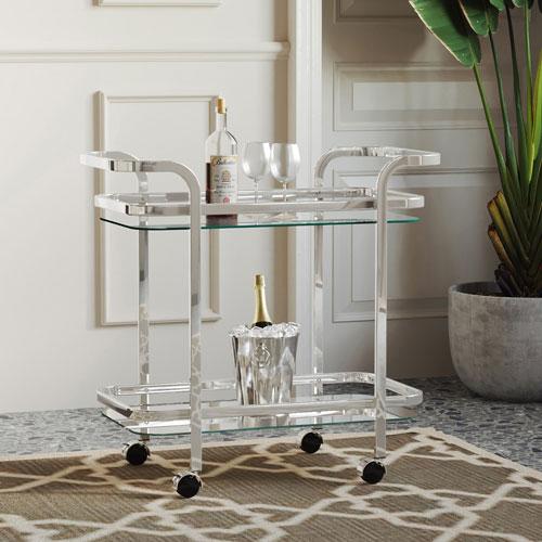 Zedd 2-Tier Contemporary Mobile Bar Cart - Chrome