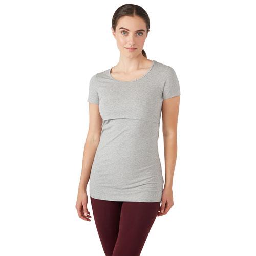 Modern Eternity Nia Short Sleeve Nursing & Maternity Top - X-Large - Steel Grey Melange