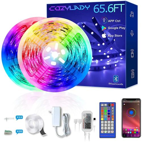 Lumière LED Bluetooth avec lumière LED 65.6FT équipée d'un téléphone intelligent APP contrôle-décoration de la chambre, décoration de la chambre, syn
