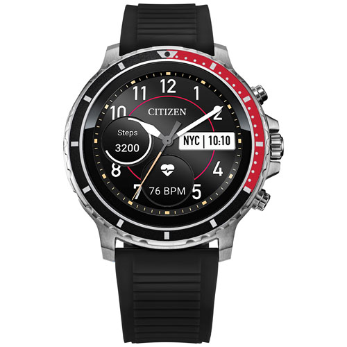 Citizen CZ Smart 46mm Smartwatch with Heart Rate Monitor - Black/Red