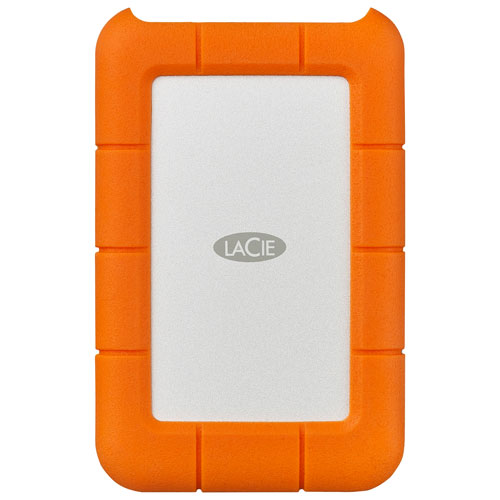 LaCie Rugged 2TB USB-C Portable External Hard Drive for PC/Mac - Orange