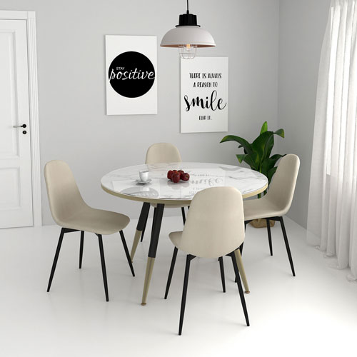 Olly Modern Fabric Dining Chair Set Of 4 Beige Best Buy Canada
