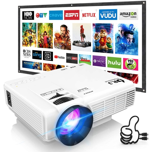 """Professional HI-04 Mini Video Projector, 100"""" Projector Screen Included &1080P Supported, Portable Outdoor Movie Projector"""
