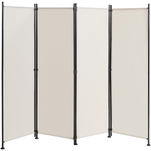 Costway 4 Panel Room Divider Folding Privacy Screen W Steel Frame Decoration White Best Buy Canada