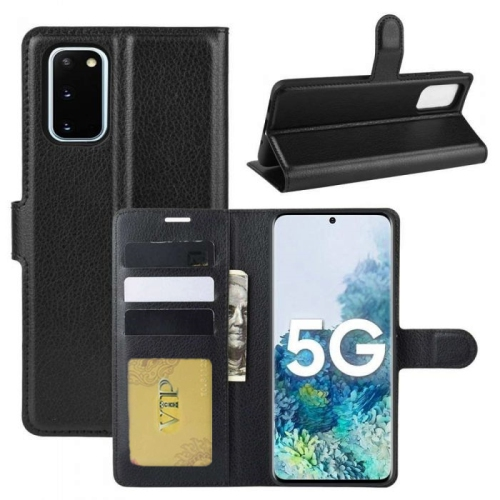 【CSmart】 Magnetic Card Slot Leather Folio Wallet Flip Case Cover for Samsung Galaxy S20 FE 5G 2020, Black