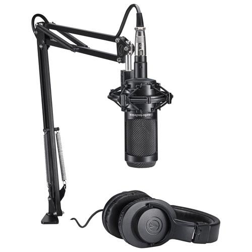 Audio-Technica Cardioid Condenser Microphone with Monitor Headphones & Studio Boom Arm