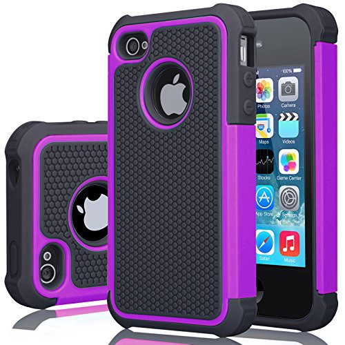 iPhone 4S Case, iPhone 4 Cover, Jeylly Shock Absorbing Hard Plastic Outer Rubber Silicone Inner Scratch Defender Bumper R...