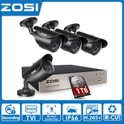 2K IP66 Weatherproof CCTV Cameras with 80ft Night Vision,NO Hard Drive ZOSI H.265 Home Security System 8 Channel Digital 24//7 Recording and 4 x 5MP
