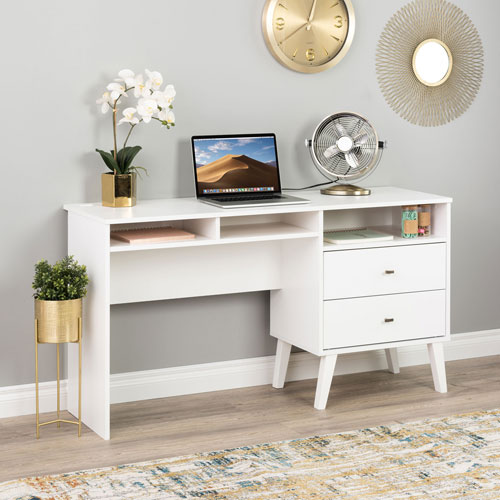 Milo Mid Century Modern Computer Desk With 3 Shelves 2 Drawers White Best Buy Canada
