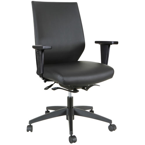 Fauteuil de bureau ergonomique en cuir reconstitué à dossier mi-hauteur Joukko de Xenali - Noir