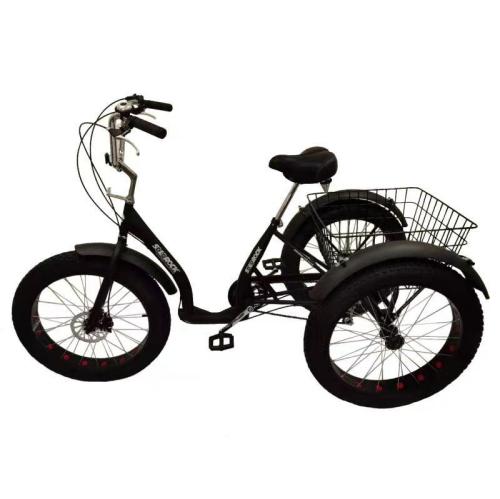 """SoloRock 24"""" 6 Speed 4"""" Fat Tire Steel Tricycle - Matt BK"""
