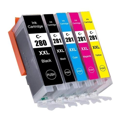 Cartouche d'encre compatible Canon PGI-280XXL CLI-281XXL combinée à très haut rendement PBK / BK / C / M / Y pour PIXMA TR7520 TR7620 TR8520 TS702 TS