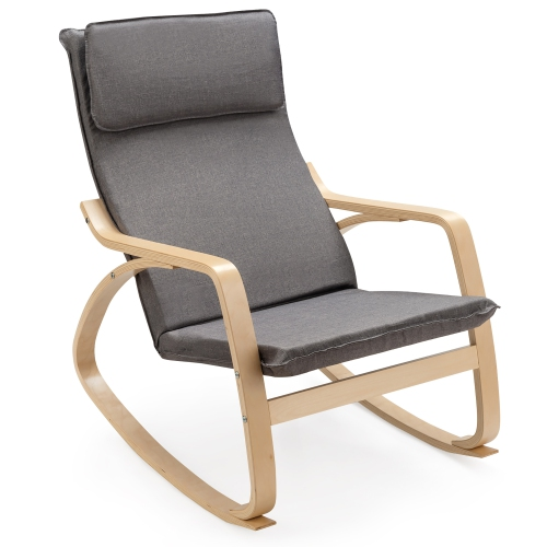 Costway Modern Bentwood Rocking Chair Fabric Upholstered Relax Rocker Lounge Chair