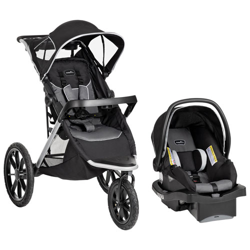 Poussette de jogging Victory Plus d'Evenflo avec siège d'auto pour bébé LiteMax - Noir