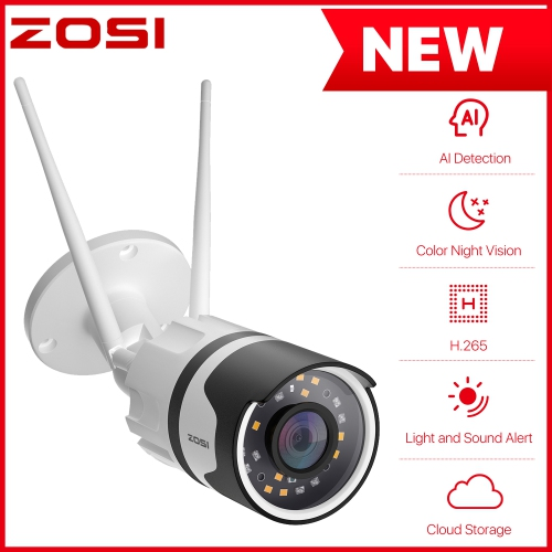 ZOSI H.265+ 1080P Wireless Outdoor Security Camera with Two-Way Audio, IP67 Waterproof, 80ft Color Night Vision, AI Human Detection,Motion Alert, Sma