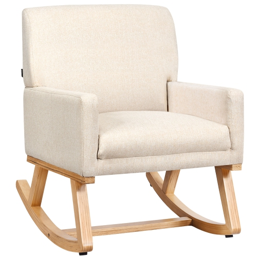 Gymax Mid Century Fabric Rocking Chair Upholstered Accent Armchair Lounge Chair Beige/Gray