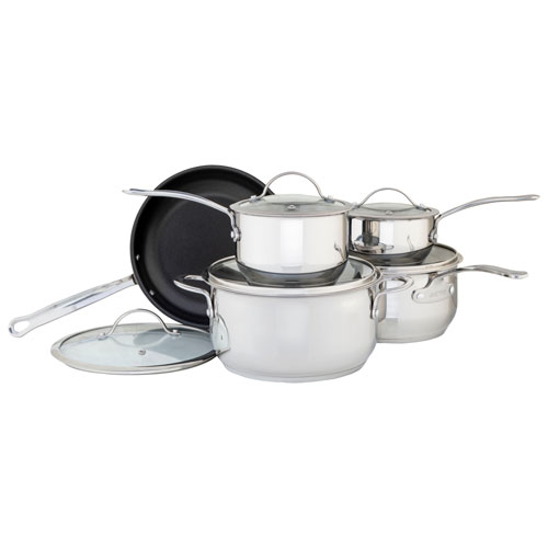 Meyer Nouvelle 10-Piece Stainless Steel Cookware Set - Silver - Only at Best Buy