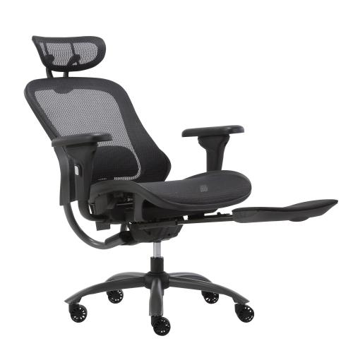 Chaise d'ordinateur de bureau ergonomique en maille de luxe avec appuie-tête et repose-pieds, noir