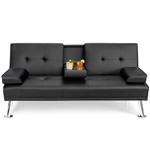 Costway Convertible Folding Futon Sofa Bed Leather w/Cup Holders&Armrests