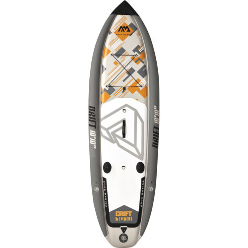 Aqua Marina Drift 10 ft. 10 in. Inflatable Stand-Up Paddleboard w/ Fishing Rod Holders - Grey/White