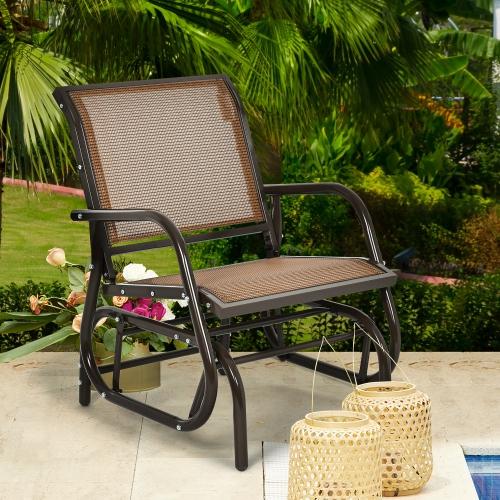 Costway Outdoor Single Swing Glider Rocking Chair Armrest Garden Porch Backyard