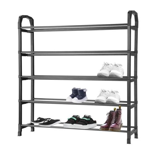 5-Tier Shoe Rack 20-Pair Shoes Storage Organizer, Durable and Easy installation Shoe Shelf, Black