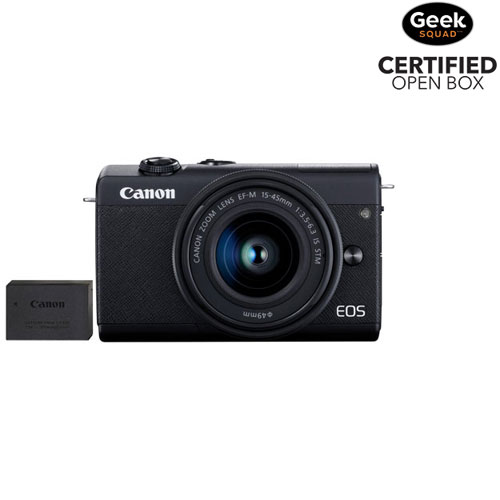 Canon EOS M200 Mirrorless Camera with 15-45mm IS STM Lens Kit & Extra Battery Pack - Open Box