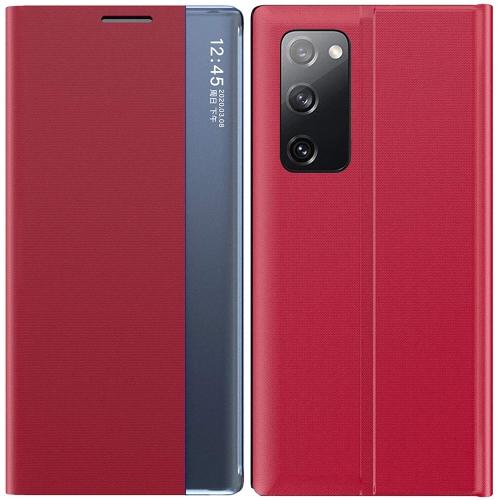 Étui à rabat transparent Housse avec béquille - Cuir synthétique de luxe - Coque de protection pour Samsung Galaxy Note 20 Ultra (Rouge)