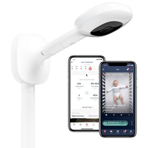Interphone de surveillance vidéo Pro de Nanit avec support mural et suivi du sommeil