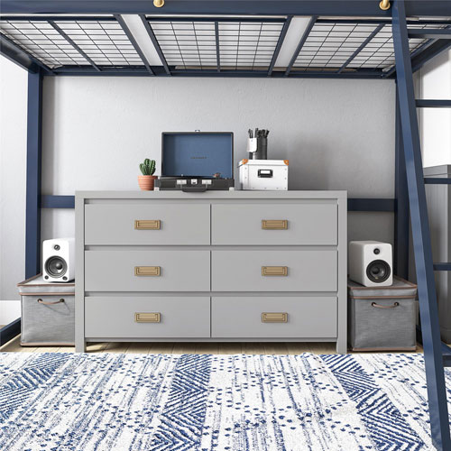 Monarch Hill Haven Contemporary 6-Drawer Dresser - Grey