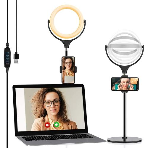 Anneau lumineux Selfie avec support de téléphone réglable et éclairage de vidéoconférence à base de disque stable - axGear